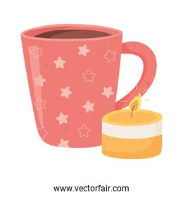 coffee cup and candle, cartoon hygge style