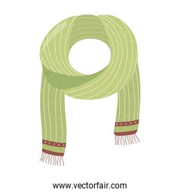 green scarf winter clothes, cartoon hygge style