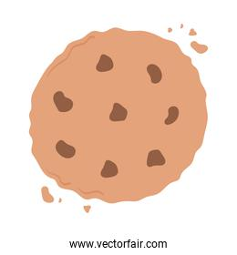 breakfast biscuit with chocolate chips appetizing delicious food, icon flat on white background