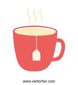 breakfast tea cup appetizing delicious food, icon flat on white background