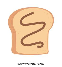 breakfast bread with peanut butter appetizing delicious food, icon flat on white background
