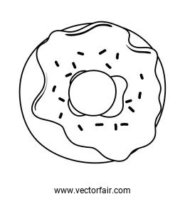 breakfast sweet donut appetizing delicious food, icon line style