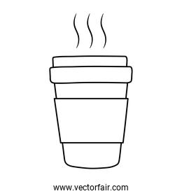 breakfast takeaway coffee cup, appetizing delicious food, icon line style
