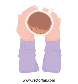 male hands with coffee cup, fresh hot beverage