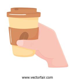 male hand with takeaway coffee cup, fresh hot beverage