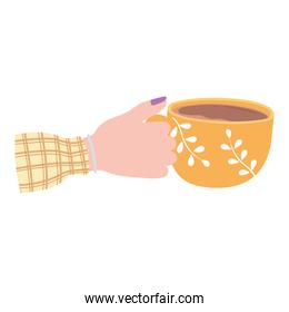 female hand with yellow coffee cup, fresh hot beverage