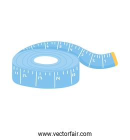 needlework tools measuring tape icon over white background