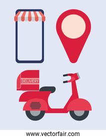 set of online ordering and delivery icons