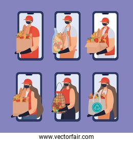 group of online ordering and delivery men and women icons on a phone