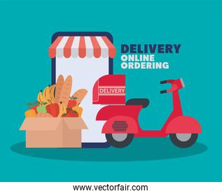 delivery online ordering lettering and set of online ordering and delivery icons and one box full of market products