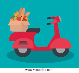 delivery mortorbike with one box full of market products