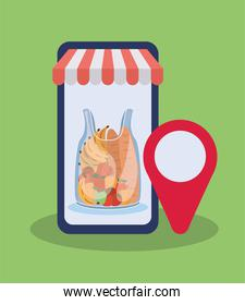 order online through a cell phone one plastic bag full of market products