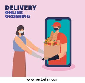 delivery online ordening lettering and man with safety mask and one paper bag full of market products on a phone