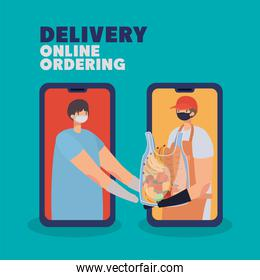 delivery online ordening lettering and man with safety mask and one plastic bag full of market products on a phone