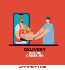 delivery online ordening lettering and man with safety mask and one box full of market products on a phone