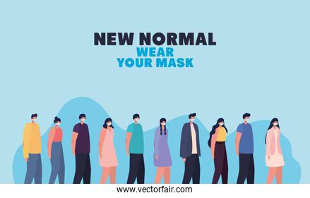 new normal wear your mask lettering and set of casual people with safety mask