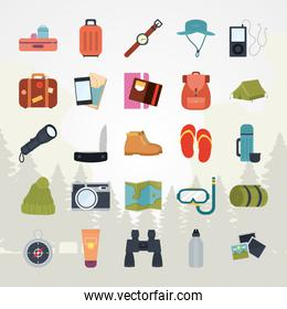 travel stuffs collection, colorful design