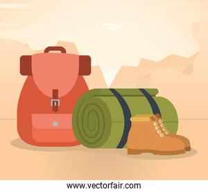 travel backpack, sleeping mat roll and boots, colorful design