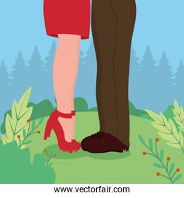 Valentines day concept, feets of couple in love standing, flat style