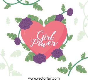 girl power design with pink heart, flowers and tropical leaves, flat style