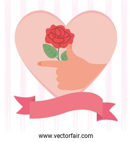 girl power design, heart with hand holding a red rose, flat style