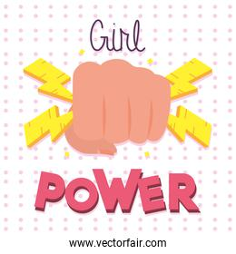 girl power design with fist holding thunders, flat style