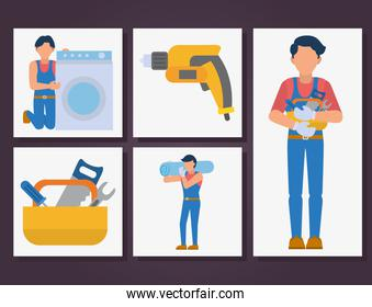 workers and home repair icon set, flat style