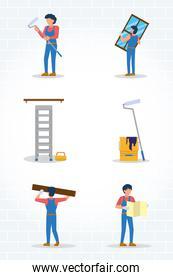 construction tools and workers icon set, flat style