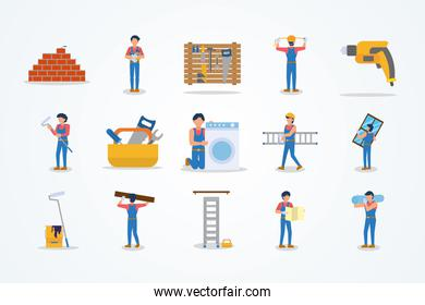 icon set of home repair concept, flat style