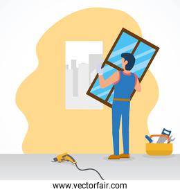 construction worker installing a window and tools around, flat style