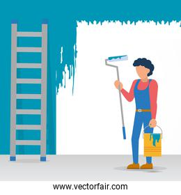 construction worker painting a wall, flat style