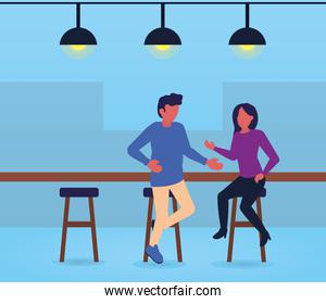 couple in the bar talking, colorful design