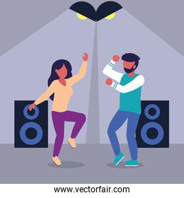 woman and man dancing at the party, colorful design