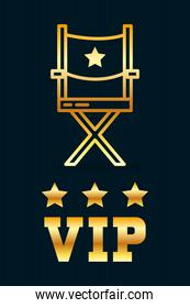VIp design with director chair and stars, line style