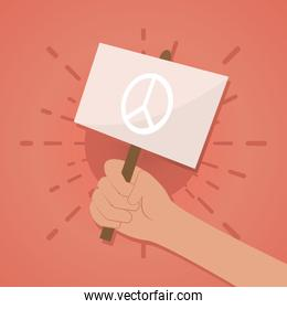 hnad holding a placard with peace symbol, colorful design