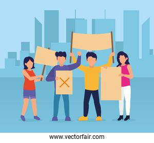 cartoon people standing protesting with placards, colorful design