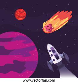 Space rocket and purple planet vector design