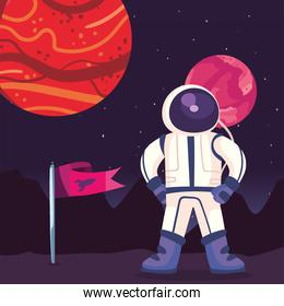 Space astronaut with flag and planets vector design