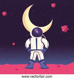 Space astronaut and moon vector design