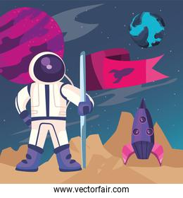 Space astronaut with flag and rocket vector design