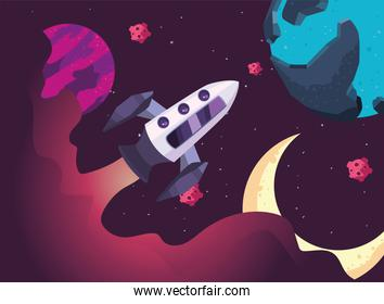 Space rocket planets and moon vector design