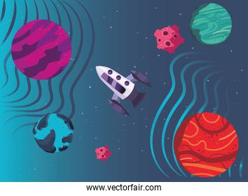 Space rocket and planets vector design