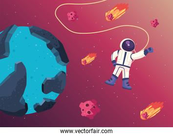 Space astronaut and blue planet vector design