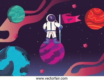 Space astronaut with flag on planet vector design