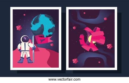 Space astronaut and planet in frames vector design