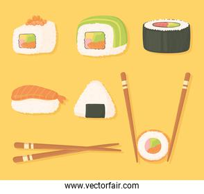 sushi time icons set chopsticks and different sushi food