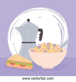 breakfast cereal and sandwich delicious food cartoon