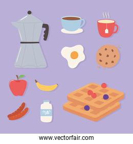 breakfast icons set, pot coffee cup fried egg fruits and cookie