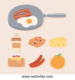 breakfast icons set, fried egg and bacon in saucepan, coffee orange pancakes