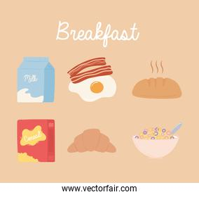 breakfast icons set, milk egg bacon bread cereal milk and croissant